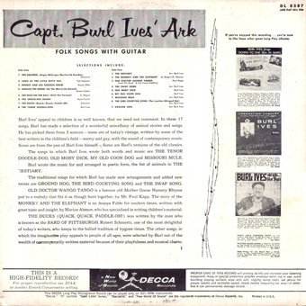 small image of Capt Burl Ives LP cover back with link to larger file